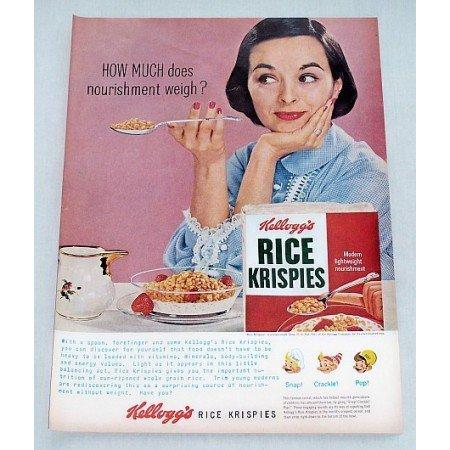 1956 Kellogg's Rice Krispies Cereal Color Print Ad