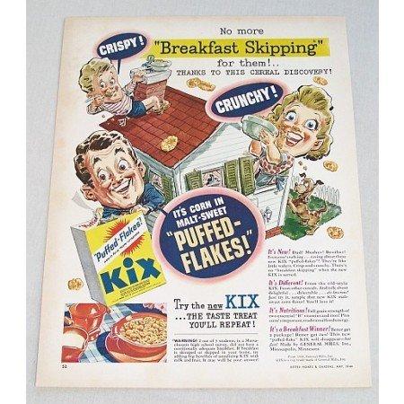 1944 General Mills Kix Cereal Color Art Print Ad - Breakfast Skipping