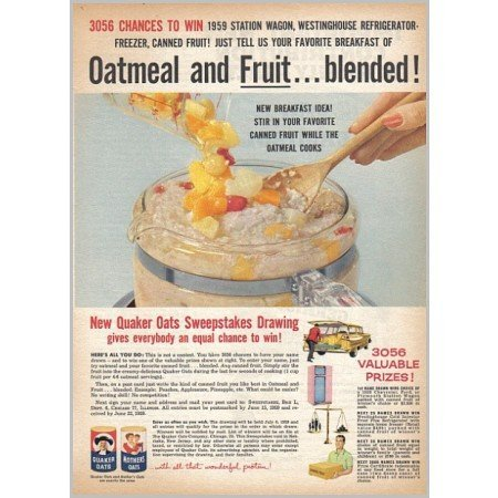 1959 Quaker Oats Color Print Ad - Oatmeal and Fruit...Blended