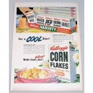 1948 Kellogg's Corn Flakes Color Print Ad - For A Cool Start