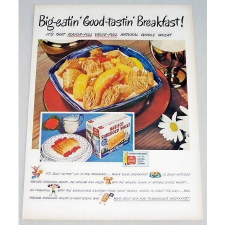 1948 Nabisco Shredded Wheat Color Print Ad - Big-Eatin