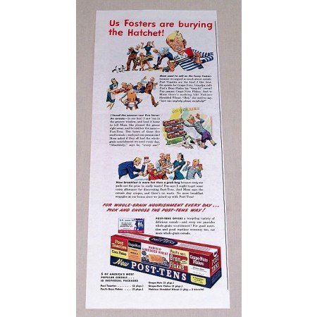 1943 Post Tens Cereal Variety Pack Color Print Ad