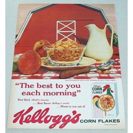 1959 Kellogg's Corn Flakes Cereal Big Red Bard Color Print Ad