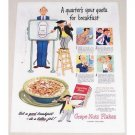 1944 Grape Nut Flakes Cereal Color Print Ad - A Quarter's Your Quota