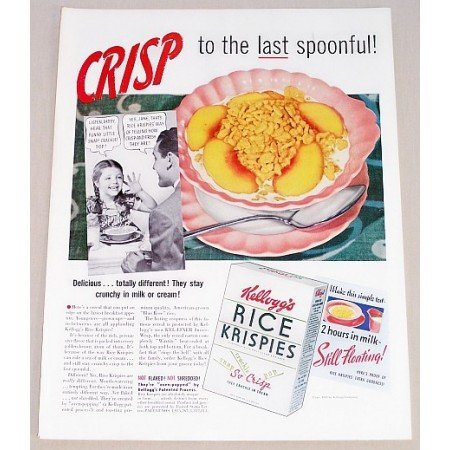 1939 Kellogg's Rice Krispies Color Print Ad - Last Spoonful