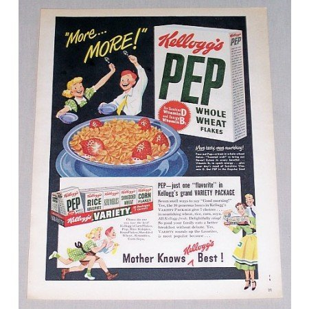 1949 Pep Whole Wheat Flakes Cereal Color Print Ad