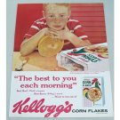 1959 Kellogg's Corn Flakes Cereal Freckled Face Boy Color Print Ad