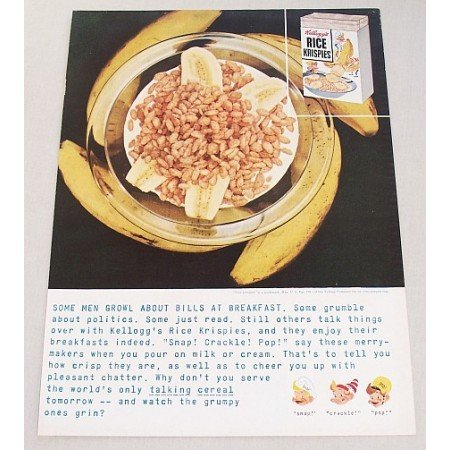 1959 Kellogg's Rice Krispies Color Print Ad - Some Men Growl