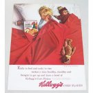 1963 Kellogg's Corn Flakes Color Print Ad - Early To Bed...