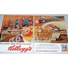 1962 Kelloggs Frosted Flakes Cereal Tiger Hunt Game 2 Page Color Print Ad