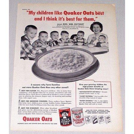1954 Quick Quaker Oats Print Ad - My Children Like Quaker Oats