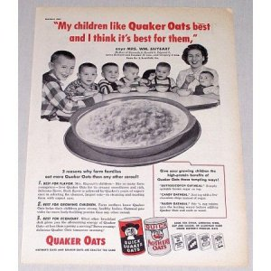 1954 Quick Quaker Oats Print Ad - My Children Like Quaker Oats