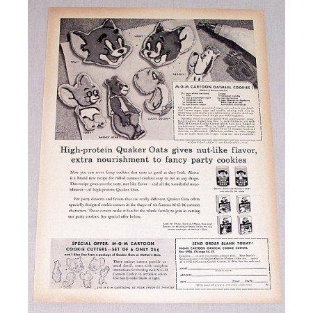 1956 Quaker Oats MGM Cartoon Cookie Cutters Offer Print Ad