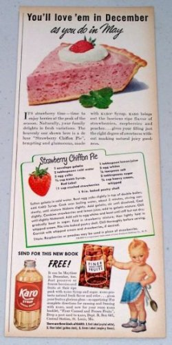 1949 Karo Syrup Strawberry Chiffon Pie Recipe Karo Kid Color Food Print Ad
