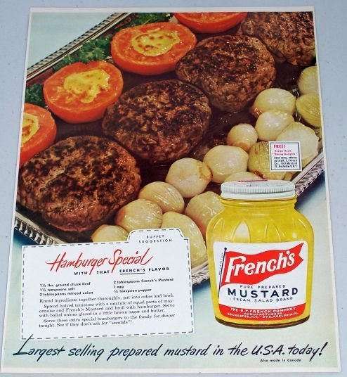 1949 French's Mustard Hamburger Special Recipe Color Food Condiment Print Ad