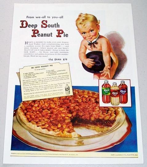 1948 Karo Syrup Deep South Peanut Pie Recipe Color Karo Kid Art Print Ad