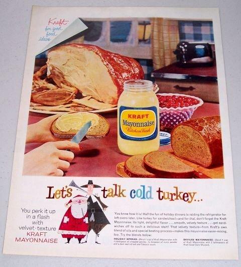 1960 Kraft Mayonnaise Color Print Ad - Let's Talk Cold Turkey