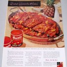 1960 Hunt's Tomato Sauce Sweet n' Sour Spare Ribs Recipe Color Print Ad