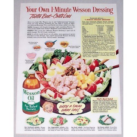 1952 Wesson Oil Wesson Dressing Recipe Color Print Ad