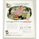 1956 Lea Perrins Sauce Outdoor BBQ Art Color Print Ad