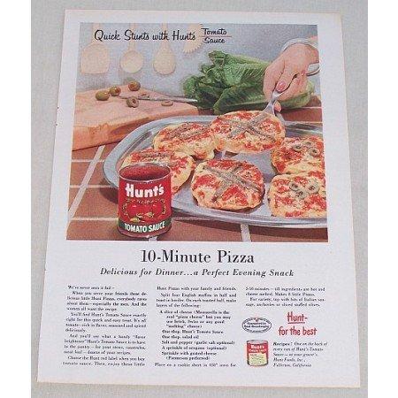 1955 Hunt's Tomato Sauce 10 Minute Pizza Recipe Color Print Ad