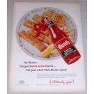 1956 Hunt's Tomato Catsup Fish Sticks Art Color Print Ad