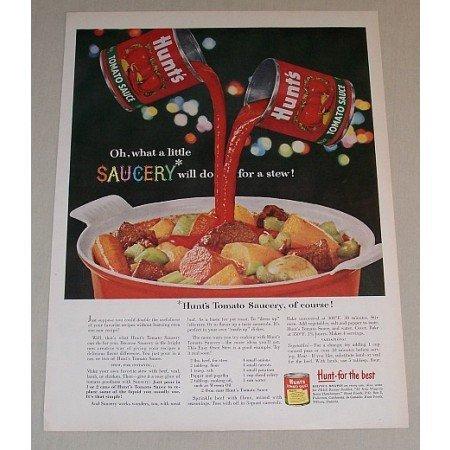 1958 Hunt's Tomato Sauce Oven Stew Recipe Color Print Ad