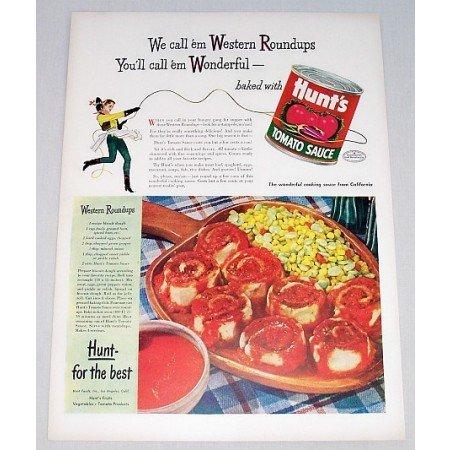 1948 Hunt's Tomato Sauce Western Roundups Recipe Color Print Ad