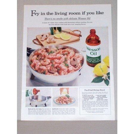 1957 Wesson Oil Pan Fried Shrimp Royal Recipe Color Print Ad