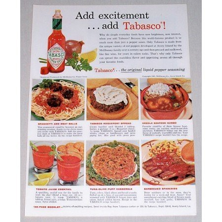 1961 Tabasco Pepper Sauce Color Print Ad - Add Excitement