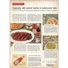 1959 Heinz Ketchup Dill Steak Logs Recipe Color Print Ad