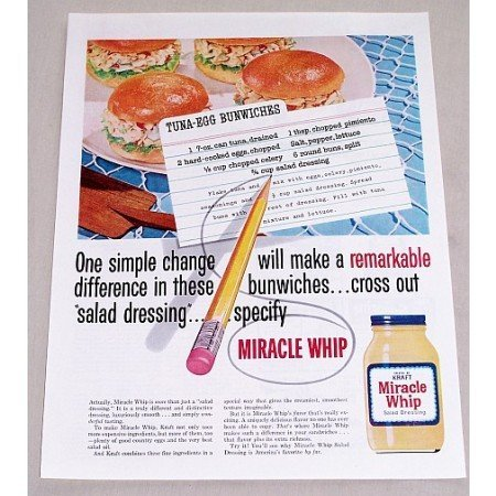 1960 Kraft Miracle Whip Salad Dressing Color Print Ad