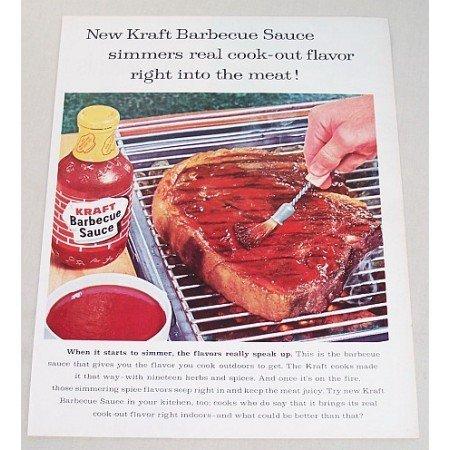 1960 Kraft Barbecue Sauce Color Print Ad - Cook-Out Flavor