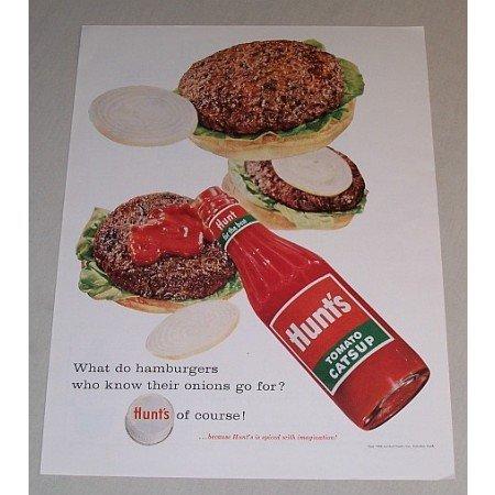 1958 Hunt's Tomato Catsup Hamburger Art Color Print Ad