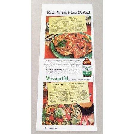 1947 Wesson Oil BBQ Chicken Recipe Color Print Ad