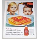 1960 Log Cabin Syrup Color Print Ad - Waffle Experts Agree