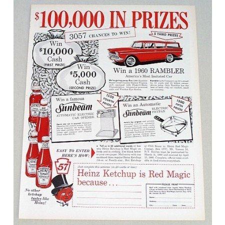 1960 Heinz Ketchup Rambler Station Wagon Contest Color Print Ad