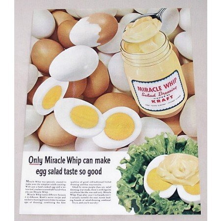 1956 Miracle Whip Salad Dressing Egg Salad Color Print Ad