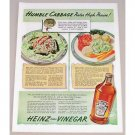 1942 Heinz Cider Vinegar Color Print Ad - Humble Cabbage
