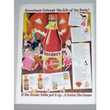 1944 Snider's Catsup Color Print Ad - Life Of The Party