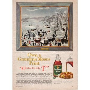 1961 Vermont Maid Syrup G Moses Art Color Print Ad - Sugaring Off