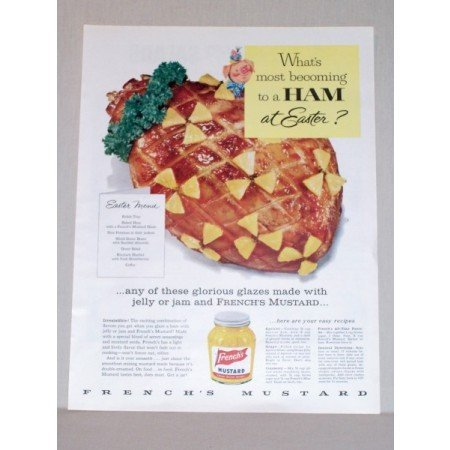 1957 French's Mustard Color Print Ad - Ham At Easter