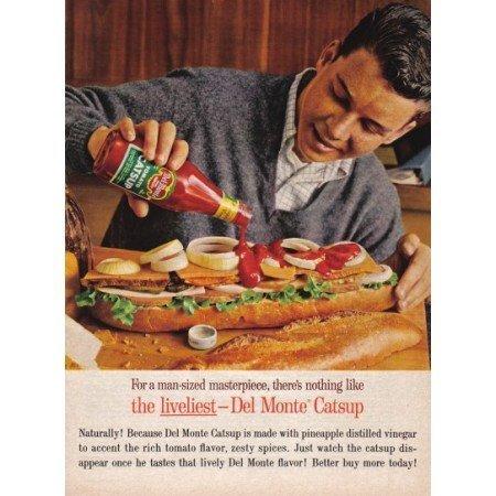 1961 Del Monte Tomato Catsup Color Print Ad - Sub Sandwich