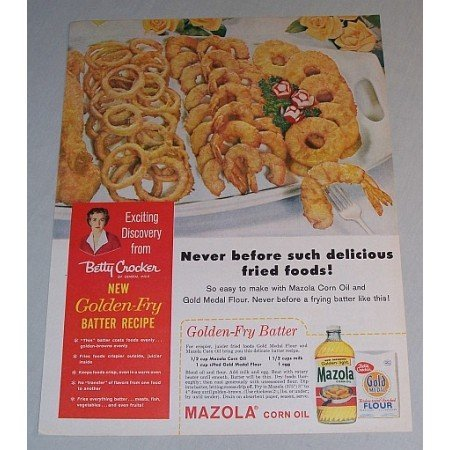 1958 Mazola Corn Oil Golden Fry Batter Recipe Color Print Ad