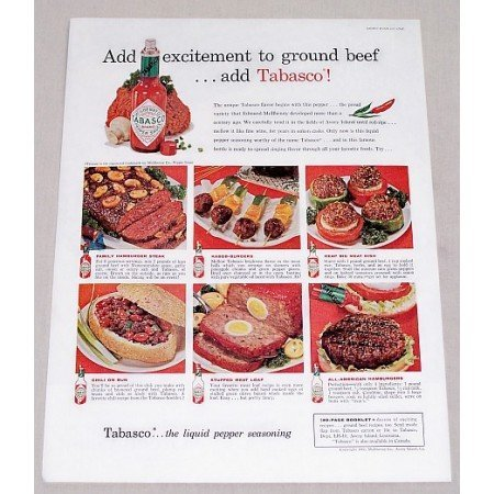 1960 Tabasco Pepper Sauce Color Print Ad - Add Excitment