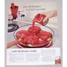 1960 Hunt's Tomato Sauce Color Print Ad - Hamburgers Tonight?