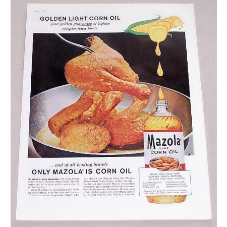 1960 Mazola Pure Corn Oil Fried Chicken Color Print Ad