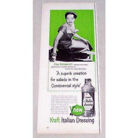1956 Kraft Italian Dressing Print Ad Celebrity Elise Schiaparelli