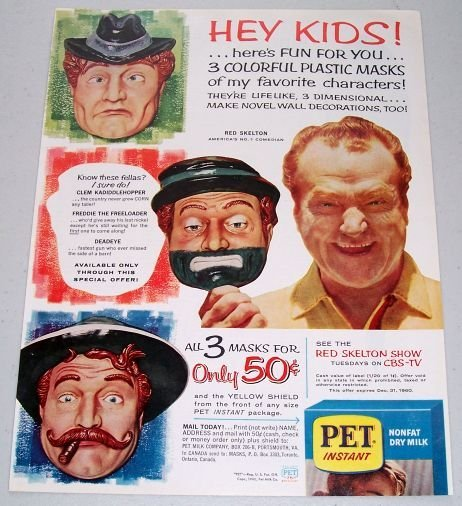 1960 Pet Instant Nonfat Dry Milk Celebrity Red Skelton Plastic Mask Offer Color Print Ad