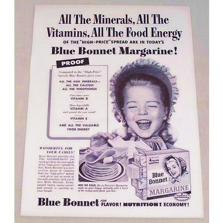 1955 Blue Bonnet Margarine Print Ad - All The Minerals